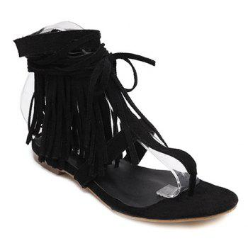 Casual Fringe and Lace-Up Design Women's Sandals
