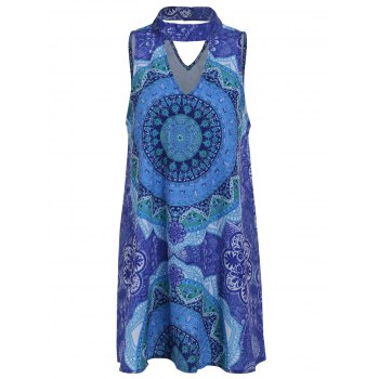 Retro Style Sleeveless Stand Collar Hollow Out Printed Women's Dress