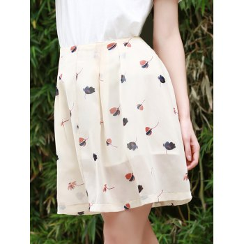 Sweet Women's Buttoned Floral Print A Line Skirt
