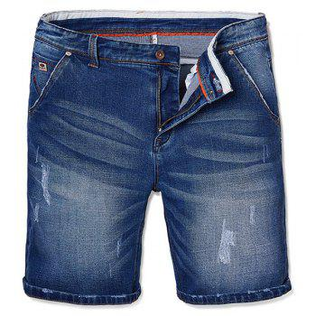 Trendy Straight Leg Cat's Whisker Design Zipper Fly Men's Denim Shorts
