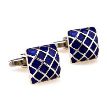 Pair of Stylish Gingham Shape Men's Electroplate Alloy Cufflinks