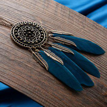 Round Feather Leaf Sweater Chain - BLACKISH GREEN