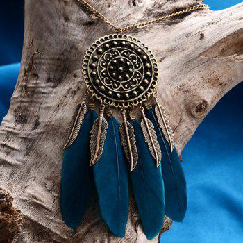 Round Feather Leaf Sweater Chain