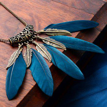 Vintage Faux Feather Leaf Sweater Chain For Women - BLACKISH GREEN BLACKISH GREEN