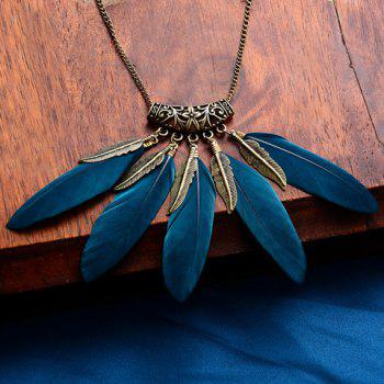 Vintage Faux Feather Leaf Sweater Chain For Women - BLACKISH GREEN