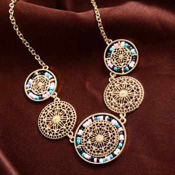 Filagree Floral Round Statement Sweater Chain