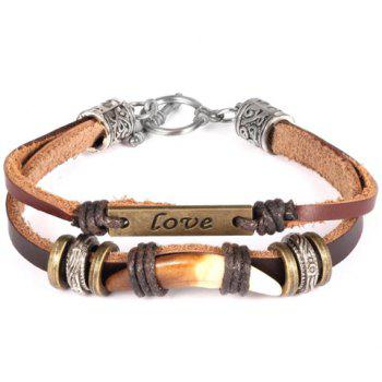 Faux Leather Love Pattern Bracelet