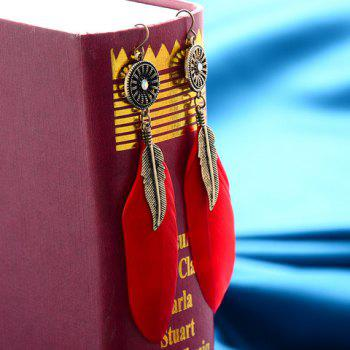 Pair of Alloy Leaf Feather Earrings - RED