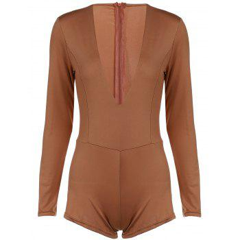 Chic Long Sleeve Plunging Neck Skinny Solid Color Women's Romper