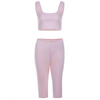 Chic Sleeveless U-Neck Crop Top + Skinny Pure Color Pants Women's Twinset