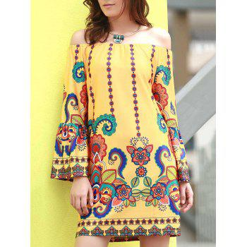 Fashionable Women's Off The Shoudler  Long Sleeve Print A-Line Dress
