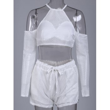 Round Collar Hollow Out Pocket Design Women s Activewear Suit