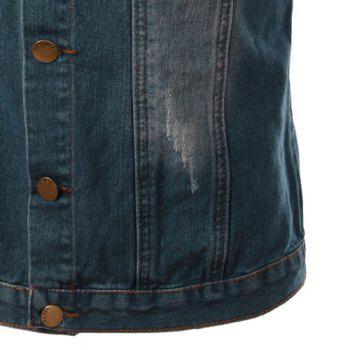 Turn-Down Collar Embroidery Letters Pattern Bleach Wash Sleeveless Men's Denim Waistcoat - BLUE L