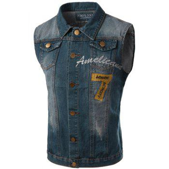 Turn-Down Collar Embroidery Letters Pattern Bleach Wash Sleeveless Men's Denim Waistcoat