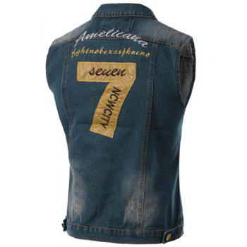 Denim Gilet de Turn-Down Collar broderie Lettres Motif Bleach Laver sans manches Hommes - Bleu 3XL