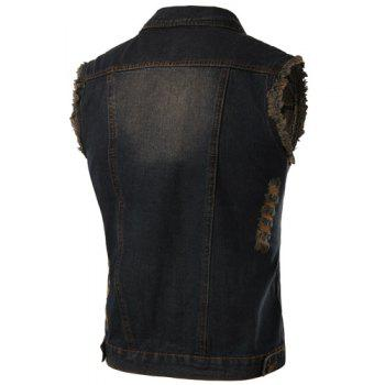 Trendy Turn-Down Collar Ripped Design Bleach Wash Sleeveless Men's Denim Waistcoat - M M
