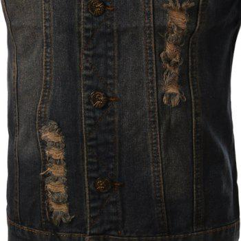 Trendy Turn-Down Collar Ripped Design Bleach Wash Sleeveless Men's Denim Waistcoat - BLUE XL