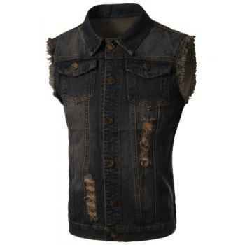 Trendy Turn-Down Collar Ripped Design Bleach Wash Sleeveless Men's Denim Waistcoat