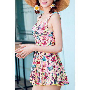 Sweet High Waist Print One-Piece Swimwear For Women - YELLOW M
