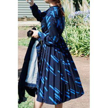 Chic Long Sleeve Stand Collar Printed Women's Pleated Dress - DEEP BLUE S