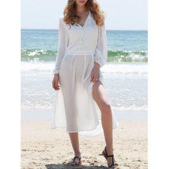 Elegant Women's V-Neck High Slit Mid-Calf Long Sleeve Dress