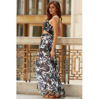 Cami Tropical Crop Top With Slit Skirt Two Piece Maxi Prom Dress