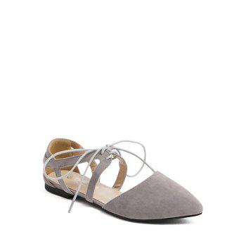 Stylish Hollow Out and Lace-Up Design Flat Shoes For Women