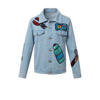 Chic Light Blue Sequined Women's Denim Jacket