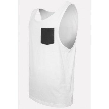 PU-Leather Pocket Applique Round Neck Sleeveless Men's Tank Top - WHITE WHITE