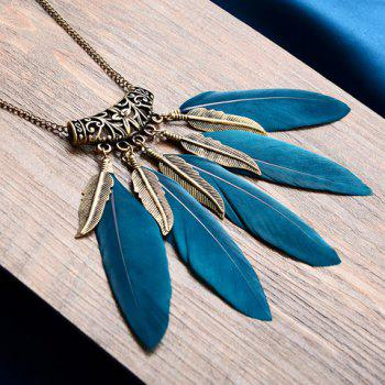 Fake Feather Leaf Tassel Sweater Chain -  BLACKISH GREEN