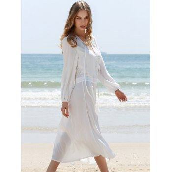 V-Neck Slit Mid-Calf Long Sleeve Dress - WHITE XL