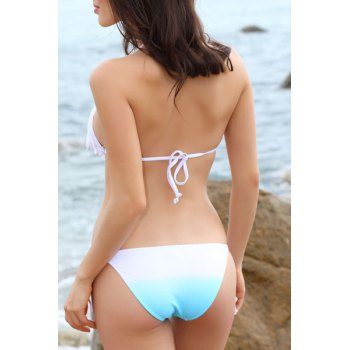 Fringed Halter Lace Up Bikini Set - WHITE M