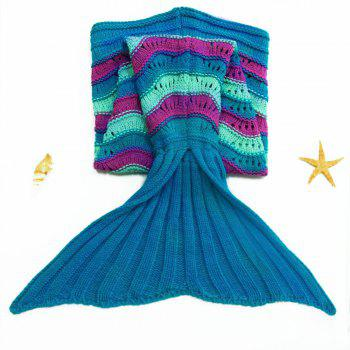 Trendy Sea Wave Pattern Mermaid Shape Knitted Kid's Blanket - COLORMIX