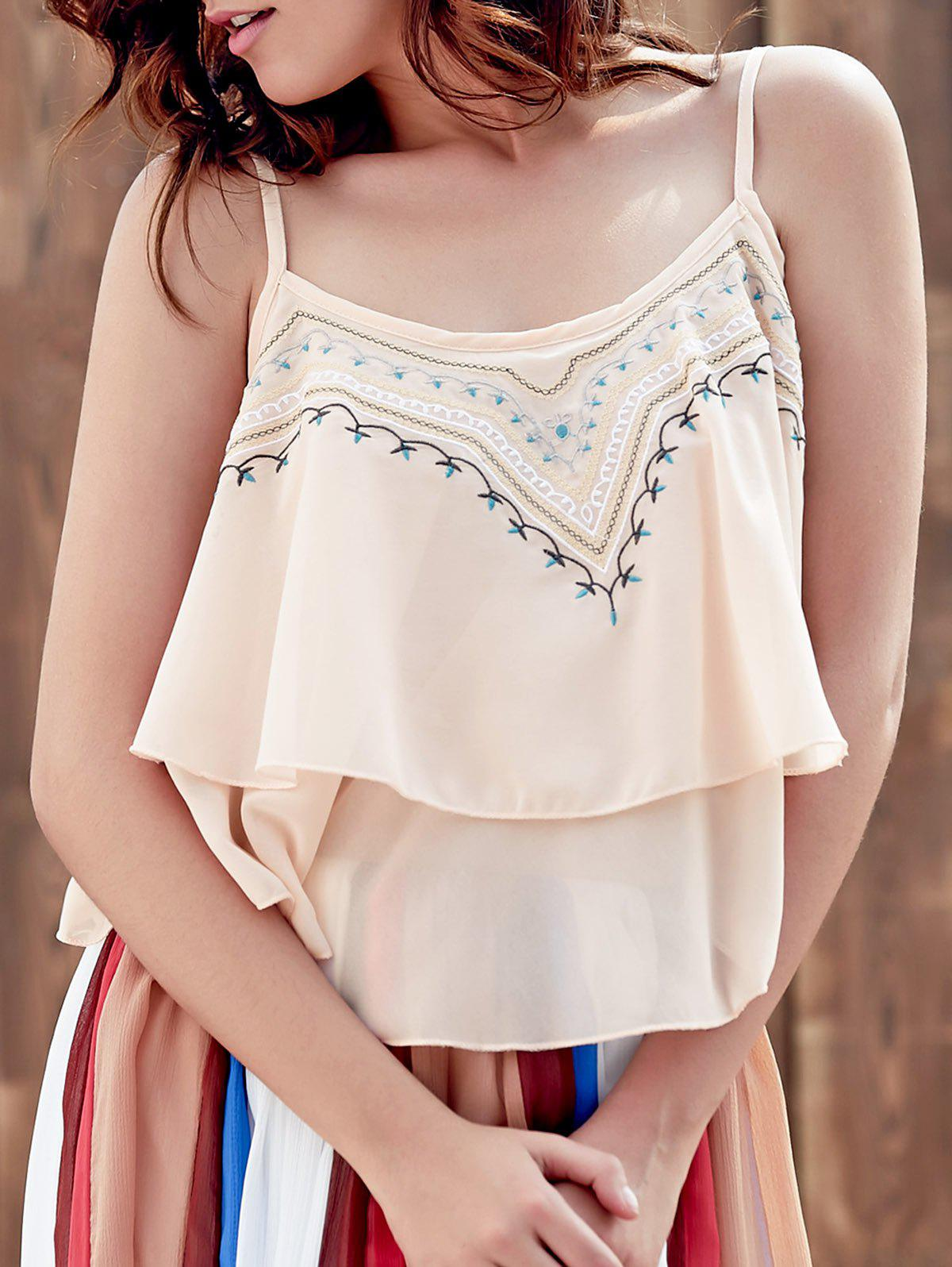 Embroidered Layered Cami Tank - PINK ONE SIZE(FIT SIZE XS TO M)