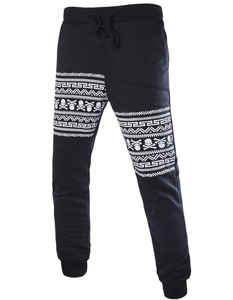 Trendy Beam Feet Skulls Pattern Drawstring Men's Pants - BLACK 2XL