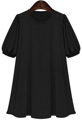 Casual Solid Color Short Sleeve Round Neck Women's Dress - BLACK 5XL