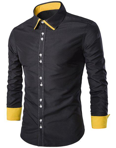 Trendy Turn-Down Collar Color Block Splicing Suture Line Design Long Sleeve Men's Shirt 176286210