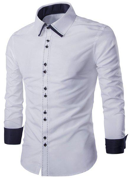 Trendy Turn-Down Collar Color Block Splicing Suture Line Design Long Sleeve Men's Shirt - WHITE M