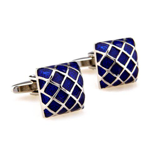 Pair of Stylish Gingham Shape Men's Electroplate Alloy Cufflinks - DEEP BLUE