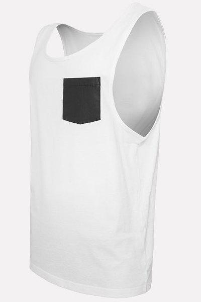 PU-Leather Pocket Applique Round Neck Sleeveless Men's Tank Top - WHITE XL