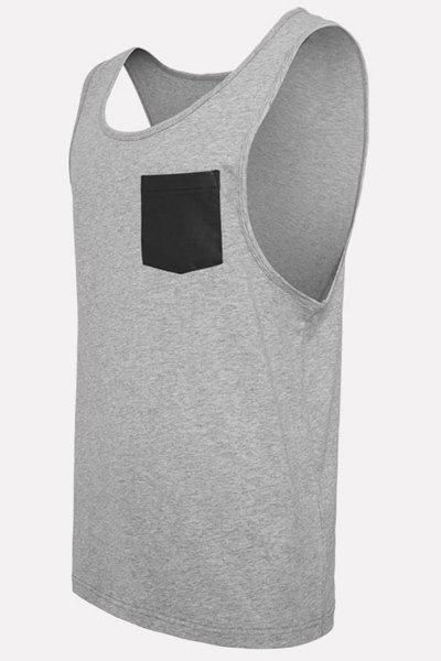 PU-Leather Pocket Applique Round Neck Sleeveless Men's Tank Top - GRAY M