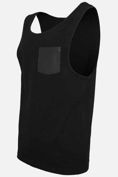 PU-Leather Pocket Applique Round Neck Sleeveless Men's Tank Top - BLACK M