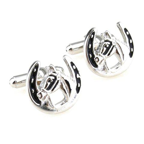 Pair of Stylish Horse Head and Horseshoe Shape Alloy Cufflinks For Men - SILVER