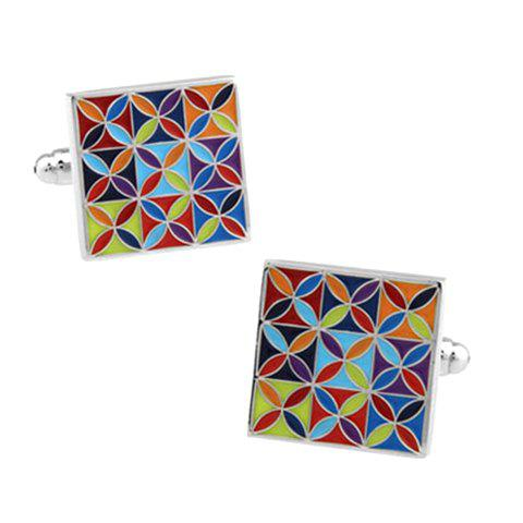 Pair of Stylish Simple Flower Shape Embellished Men's Quadrate Alloy Cufflinks - BLUE