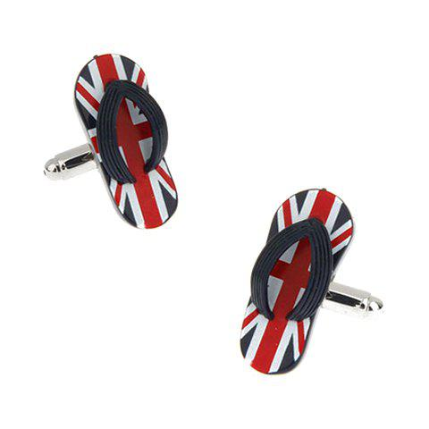 Pair of Stylish England Flag Slippers Shape Men's Alloy Cufflinks - RED
