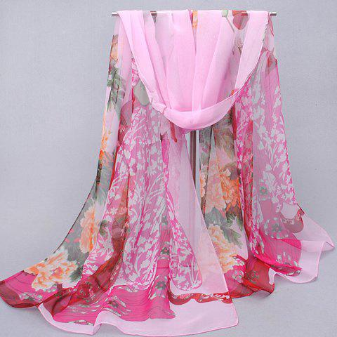 Chic Handpainted Peony and Ancient Beauty Pattern Women's Chiffon Scarf - PINK
