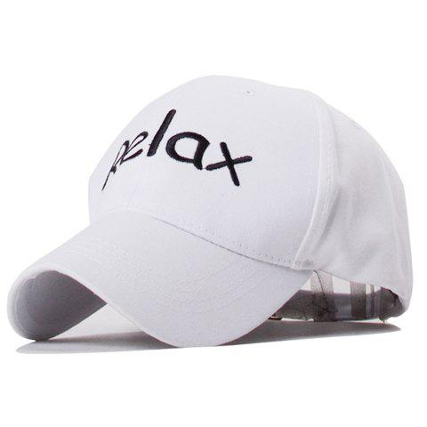 Trendy Relax Word Embroidery Solid Color Baseball Hat For Men - WHITE