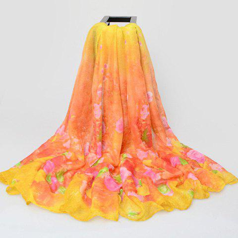 Chic Roses Pattern Sun Resistant Women's Voile Scarf - YELLOW