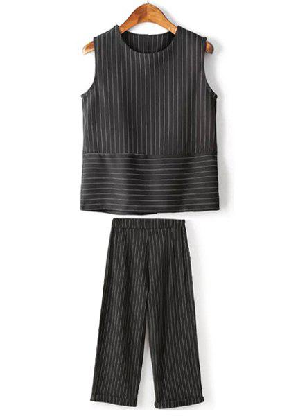 Stylish Round Collar Sleeveless Striped Loose Tank Top + Loose Ankle Pants Women's Twinset - BLACK L