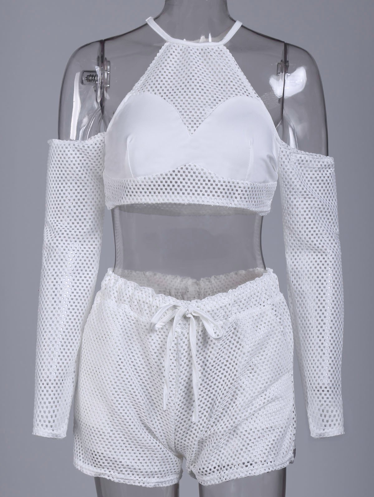 Sexy Round Collar Pocket Design Hollow Out Women's Activewear Suit - WHITE S